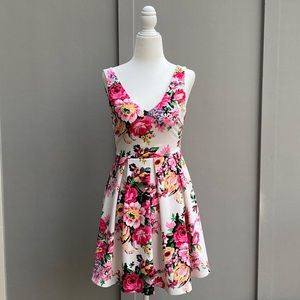 LUSH Floral Pink Flare V-neck Mini Dress in XS